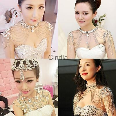 Chic Crystal Rhinestone Wedding Bridal Jewelry Collar Choker Necklace Body Chain