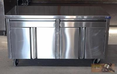 """60"""" x 30"""" All Stainless Steel 4 Door 2 Drawer Mobile Cabinet storage counter top"""