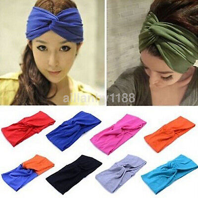 UK Women Cotton Turban Twist Knot Head Wrap Headband Twisted Knotted Hair Band
