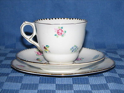 Royal Stafford Bone China, Tea Cup and Saucer Trio. Rose Pansy forget me not.