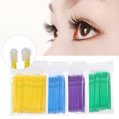 100 Pcs Micro Brush Disposable Microbrush Applicators Eyelash Extensions Swab MZ