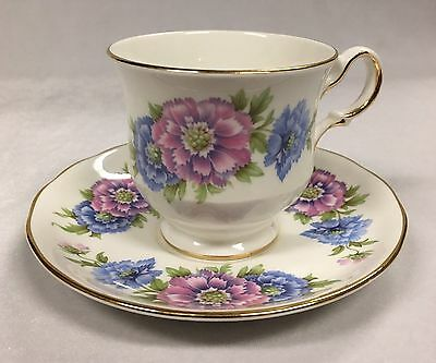 Vintage Queen Anne Pink and Blue Carnations Tea Cup and Saucer