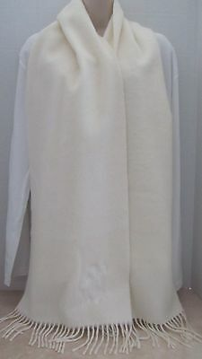 "Gianfranco Ferre  White Wool/Angora Men's Scarf. Made in Scotland 80 "" x 12 """