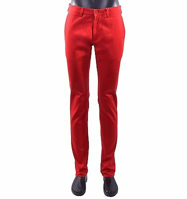eecb5a63a536 MOSCHINO Slim Fit Chino Trousers Pants with Logo Print Red Blue 05417