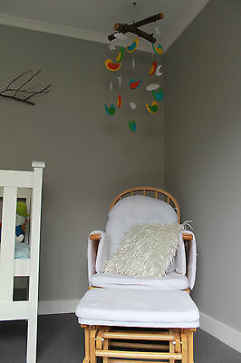 Wooden Baby Breast Feeding Relaxation Rocking Chair with Ottoman Glider