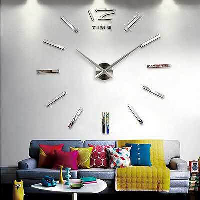 3D Large Wall Clock Mirror Sticker Big Watch Sticker Home Office DIY Decor Gift