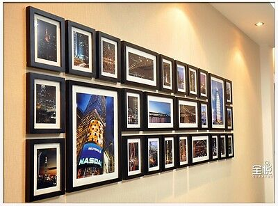 family Home Decor black color 26 Pcs Wood picture Wall Mounted Photo Frame set