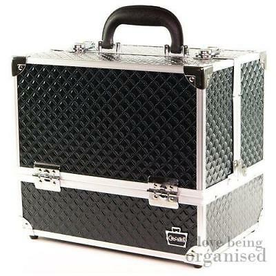 Black Holographic Sparkle Diamond Caboodles 6 Tray Train Case Nail Beauty Cosmet