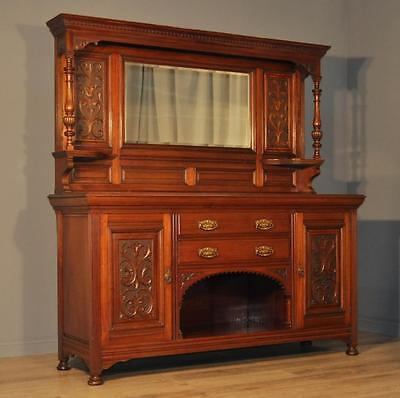 Attractive Large Antique Victorian Carved Mahogany Mirror Back Sideboard Cabinet