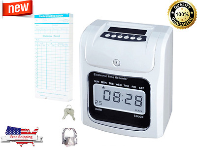 Electronic Time Clock Punch Card Machine Employee Work Hours Payroll Recorder US