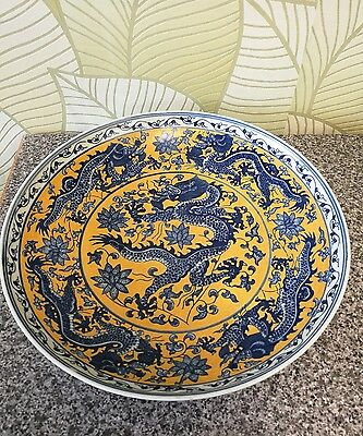 """Very interesting Chinese dragons plate with Marks.  diameter 12.2"""""""