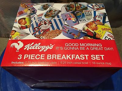 3 piece Kelloggs Frosted Flakes Breakfast Set NIB advertising Mug Plate Bowl