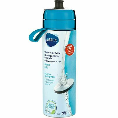 BRITA fill&go Active Water Filtration Bottle 0.6L with 1 MicroDisc Filter - Blue