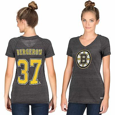 Womens XLarge Boston Bruins CCM Patrice Bergeron Tri-Blend V-Neck TShirt H482