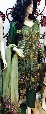Indian Pakistani Shalwar Kameez Dabka Diamonties And Pearls Fancy Embroidery