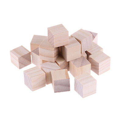 Square Wooden Bead Unfinished DIY Woodcrafts Baby Toys Cube Home Decor Handmade