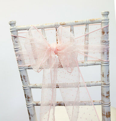 Blush Pink Kimmy Dot Organza Sashes And Table Runner Wedding Chairs Venue Decor