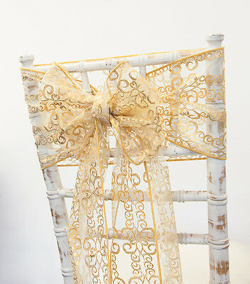 Christmas Gold Metallic Swirl Bronzing Sashes ,hoods Or Table Runners Xmas Table