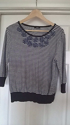 Ladies blue/white striped top from M&Co size 14