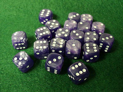 20 six-sided dice, 12mm D6, pearl purple finish, white dots