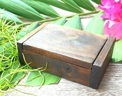 Vintage teak wooden jewelry box handmade trinket storage name card holder gift#1