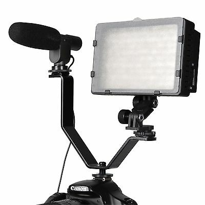 CowboyStudio Dual Mount Bracket for Video Lights & Microphones on Cameras and...