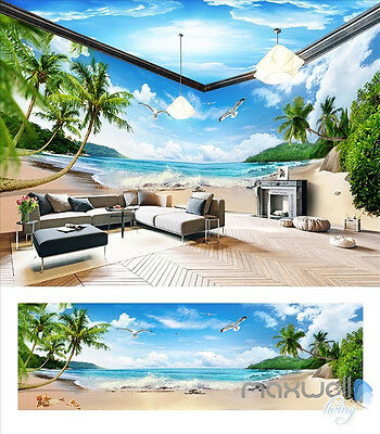 Palm Beach Sky White Clouds Sea entire room 3D wallpaper wall mural decals