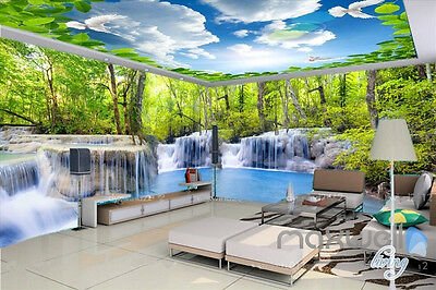 Huge waterfall landscape woods entire room 3D wallpaper wall mural decals