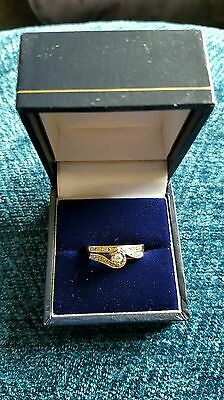 9ct gold and diamond engagement and wedding ring duo