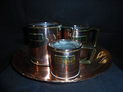 Antique/Early Arts & Crafts Copper & Brass/Large hand beaten fruit dish/cups.