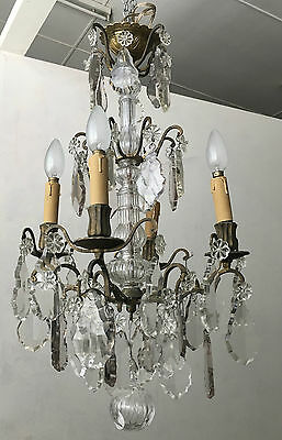 French Chandelier Bronze And Crystal