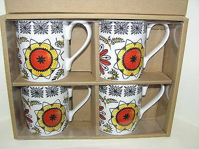 1960's KATHIE WINKLE DESIGN BROADHURST CALYPSO SET FOUR 4 MUGS RETRO NEW BOXED