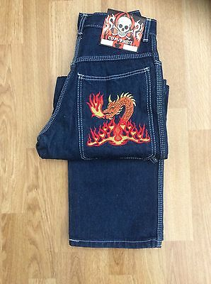 Boys Dragon Baggy Carpenter Scate Jeans Dark Blue Denim Size 27 - Age 12-13 Yrs