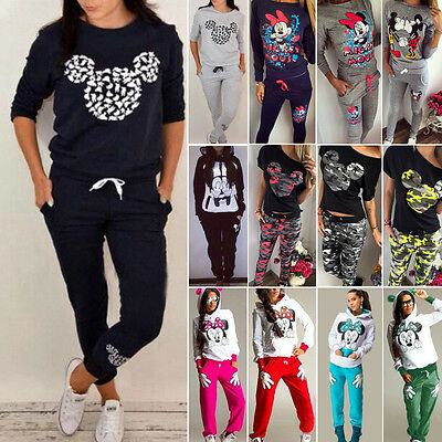 Women Mickey Mouse Tracksuit Hoody Shirt Pants Sets Sport Suit Casual Loungewear
