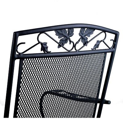Mainstays Jefferson Wrought Iron Porch Rocking Chair Long Wearing Black Finish