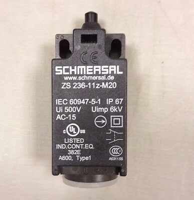 Schmersal Limit Switch Zs 236-11Z-M20 Plunger 1No 1Nc 4A 230V 9N - New Old Stock