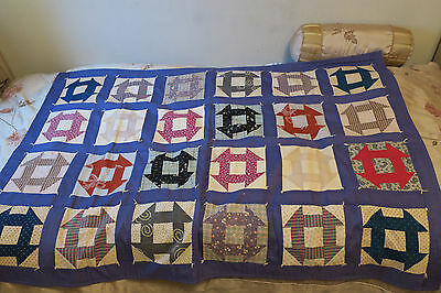 """QUILT Antique hand stitched Lancaster County MONKEY WRENCH QUILT 40""""x56"""""""