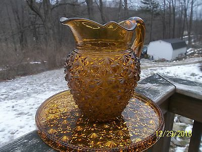Rare Antique Button Daisy Large Water Pitcher Twisted Stem With Tray