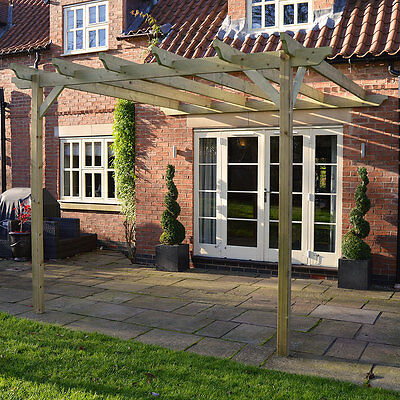 Lean To Pergola - Wooden Garden Structure - In Two Sizes - 2 Posts