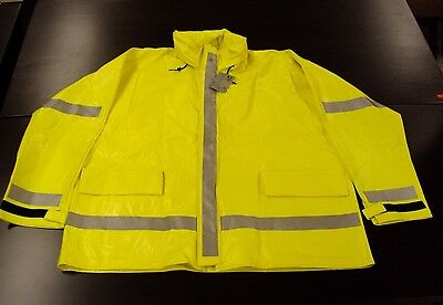 NEW!! Bulwark Safety Flame Resistant Hi-Visibility Rain Jacket JXN6YE XL *READ*