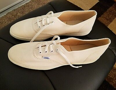 Nos Vintage 1960S Vans Canvas Sneakers/deck Shoes/beige Size 12N