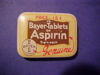 vintage BAYER aspirin tin NEW YORK (pre-priced 15-cents)