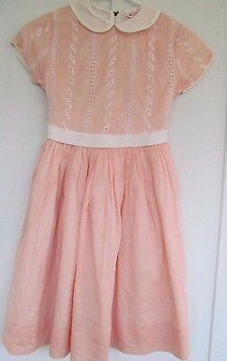 Vtg 1960s Girl's Peach Cotton and Organza Broderie Anglaise Eyelet Party Dress