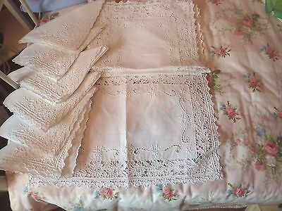 Beautiful, Crisp, Unused, Antique Placemats & Napkins Open Work & Embroidery