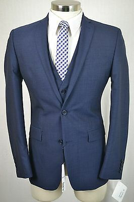 (40R) Bar III Men's Navy Blue SLIM FIT Flat Front 3 Piece Suit w/ Vest (34x32)