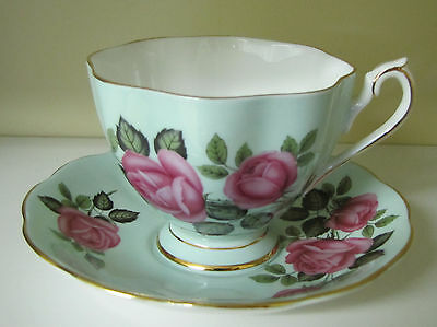 Queen Anne Cup & Saucer Mint Green Pink Roses