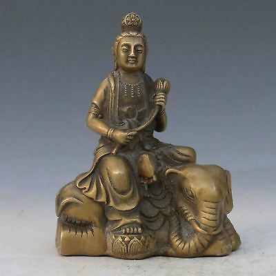 Chinese Copper Hand-carved Kwan Yin & Elephant Statue M0042