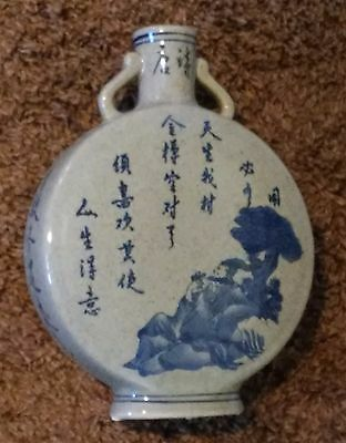 Chinese Blue & White Porcelain Hand Painted Flask Shape Characters Flower Vase