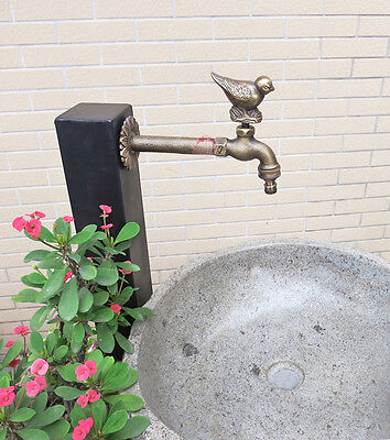 "Solid Brass Bird Garden Outdoor Faucet 8"" inches L - With a Brass Connecter"