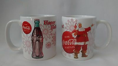 Coca-Cola Happy Holidays Item #2042 Ceramic Mugs Houston Harvest Lot of 2